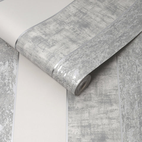 G&B Superfresco Wallpaper | Milan Stripe Silver | 106517