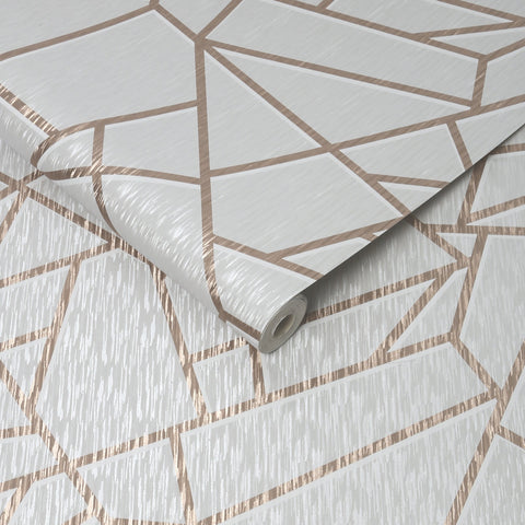 G&B Sublime Wallpaper | Theia Geo Mist/Rose Gold | 106596
