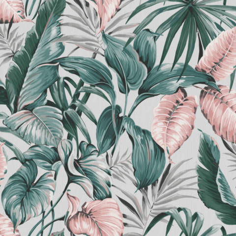 Leaves Exotique Grey/Pink Wallpaper | Graham & Brown 107009 Sublime Collection