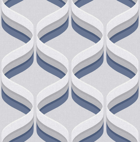 Graham & Brown Fresco Wallpaper | Retro Ogee Navy | 107744