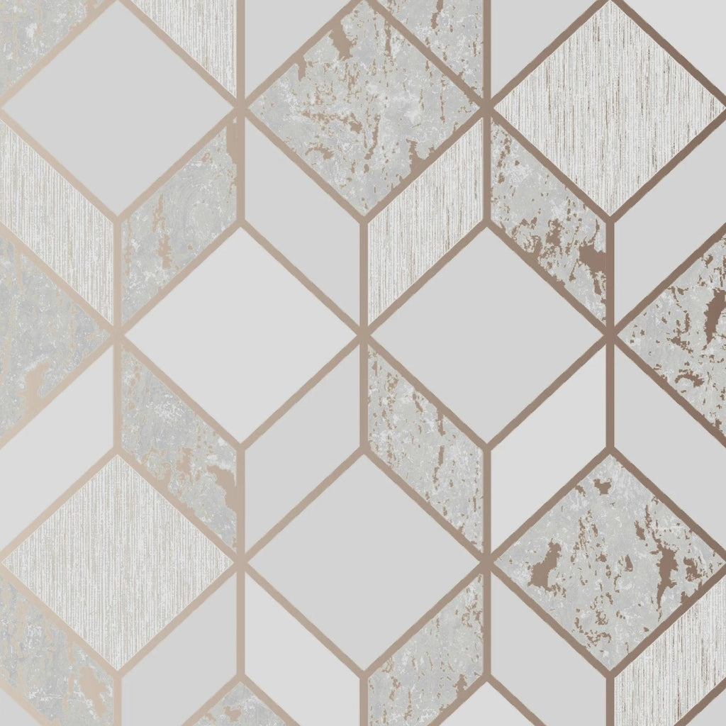 Graham & Brown Wallpaper | Vittorio Geo Grey/Rose Gold | 107962