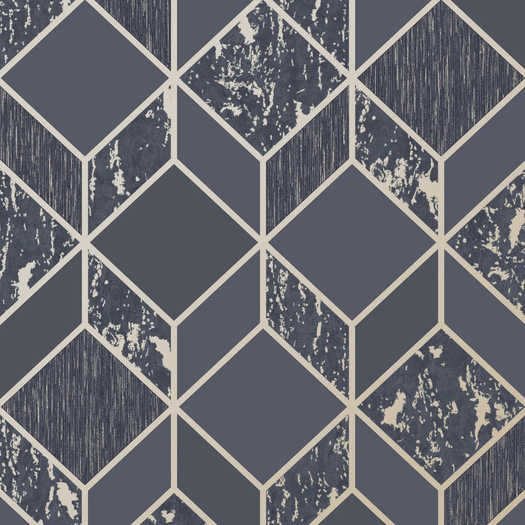Graham & Brown Wallpaper | Vittorio Geo Navy/Pale Gold | 107964