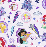 G&B Disney Princess Wallpaper | Princess Badge Pink/Multi | 108018
