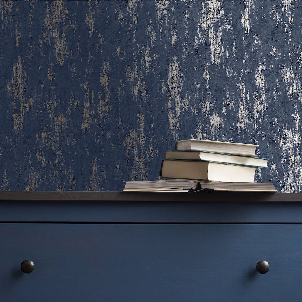 Distressed Texture Navy/Rose Gold Wallpaper | G&B 108120