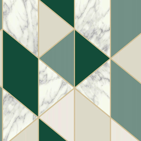 Marble Geo Dark Green Wallpaper | Graham & Brown Sublime Collection 108298