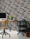 Distressed Brick Navy Wallpaper | Graham & Brown Fresco 108596