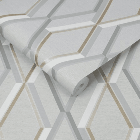 Prestige Geo Grey/Gold Wallpaper | Graham & Brown 108607 SuperFresco Easy