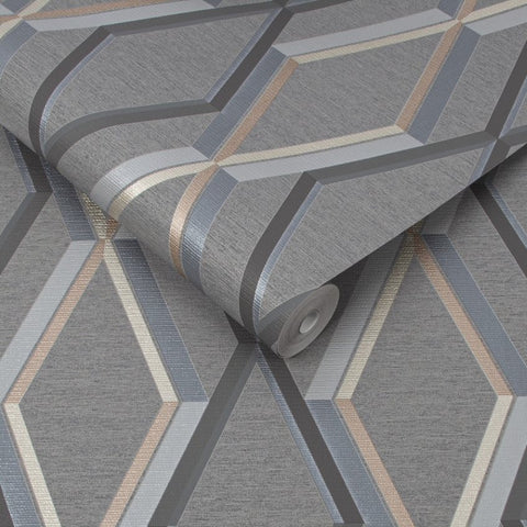 Prestige Geo Charcoal Wallpaper | Graham & Brown 108611 Superfresco Easy Collection
