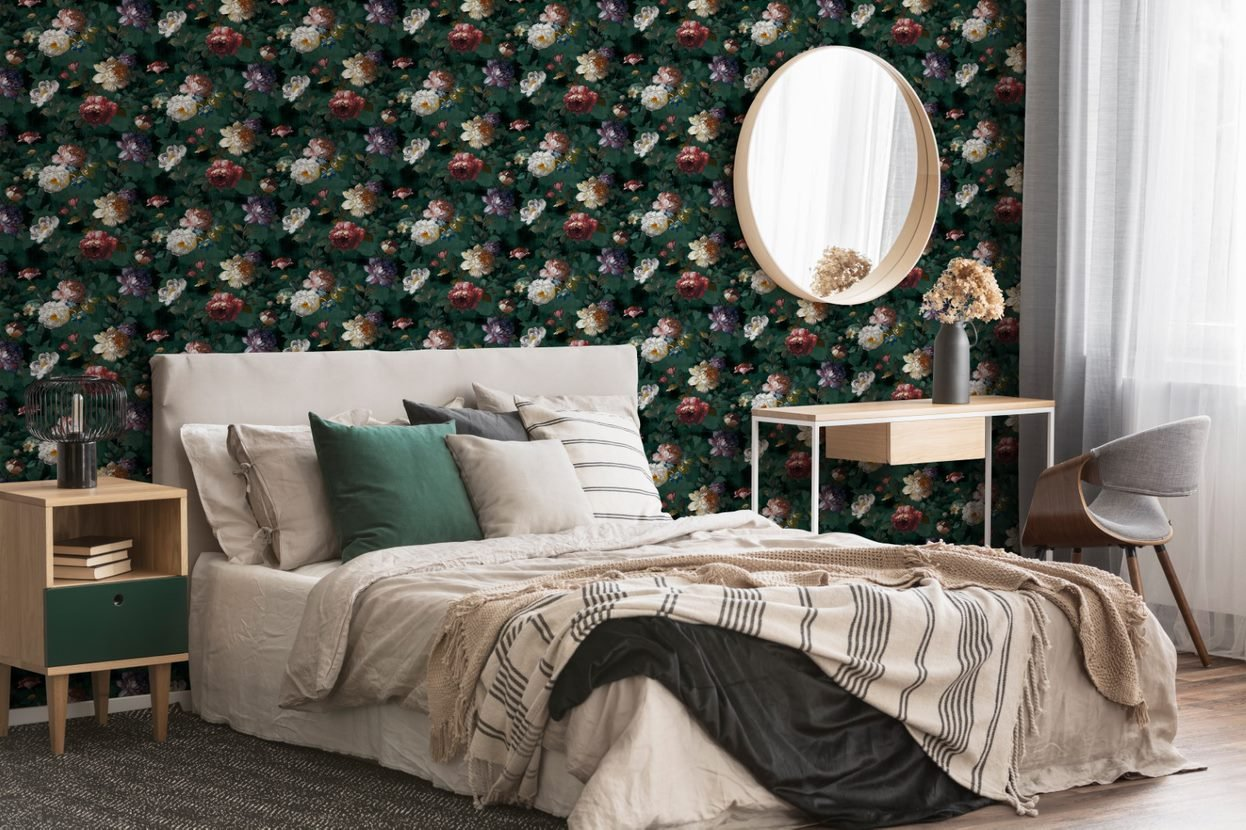 Feature Wall Wallpaper Roses Flowers Black Super Fresco Isabelle Easy 108613