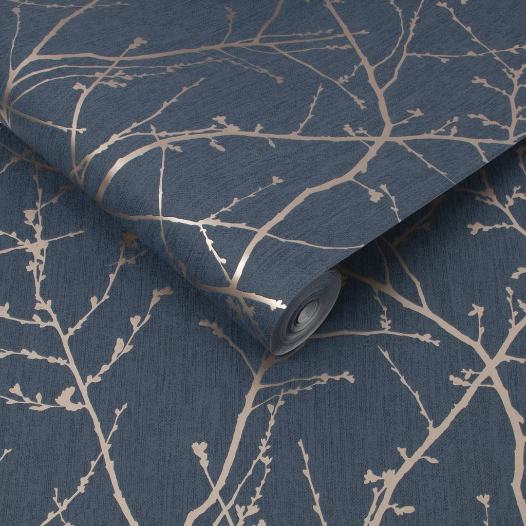 Innocence Navy/Copper Wallpaper | Graham & Brown 108619 Superfresco Easy Collection