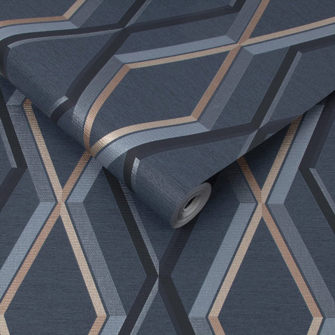 Prestige Geo Navy/Copper Wallpaper | Graham & Brown 108622 Superfresco Easy Collection
