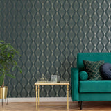 Marquise Geo Emerald Wallpaper | Graham & Brown 111313 Boutique Collection