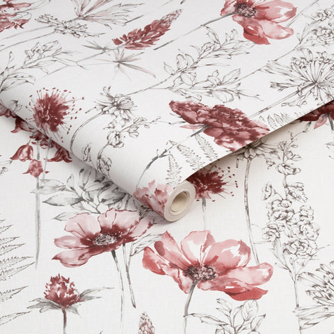 Floral Sketch Red | Graham & Brown Wallpaper | 112569