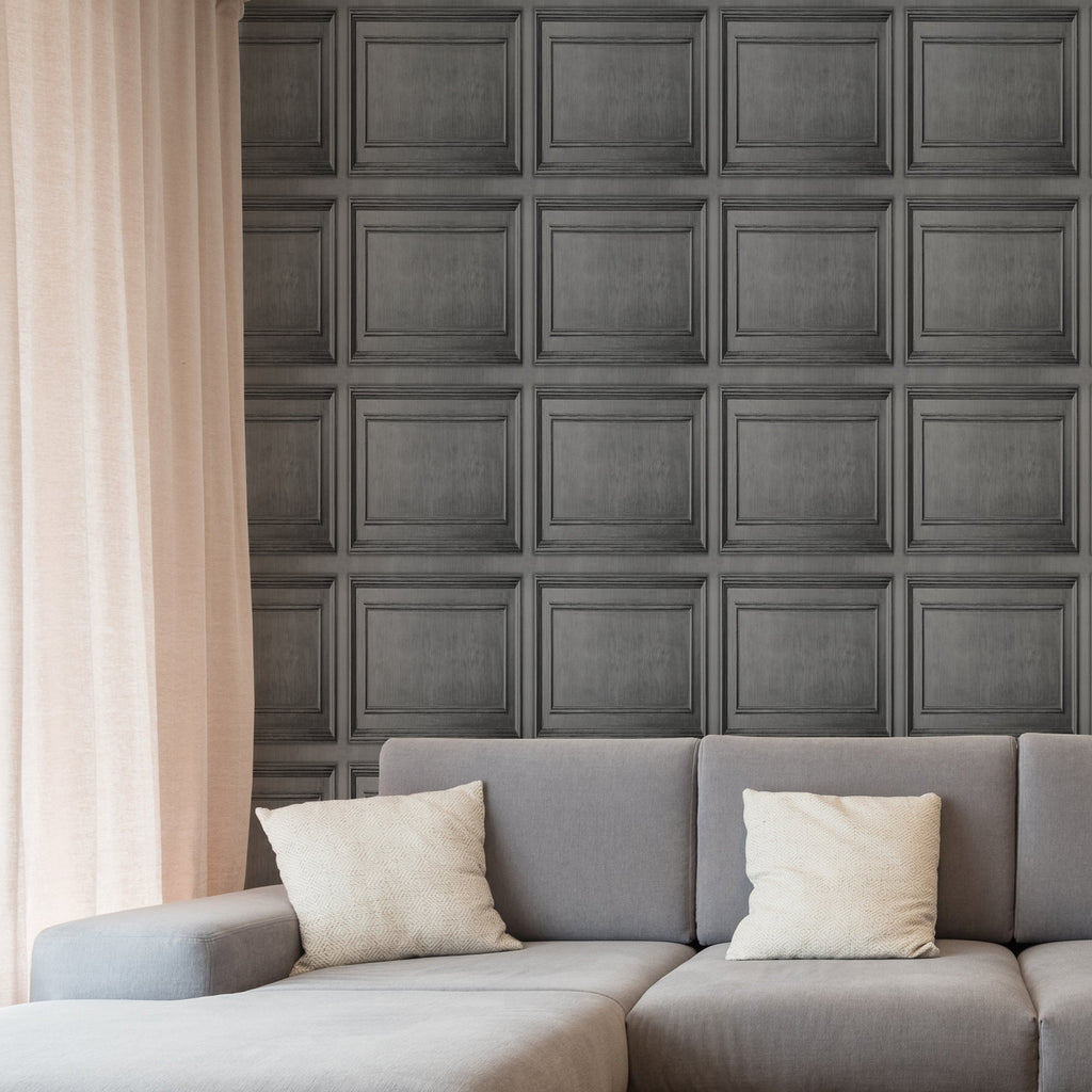 Wood Panelling Dark Grey | Graham & Brown Wallpaper 112586