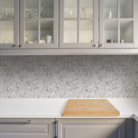 Marble Chevron White | G&B Contour Wallpaper | 112644