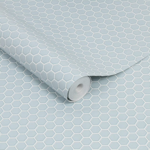 Hexagon Lattice Duck Egg | G&B Contour Wallpaper | 112654