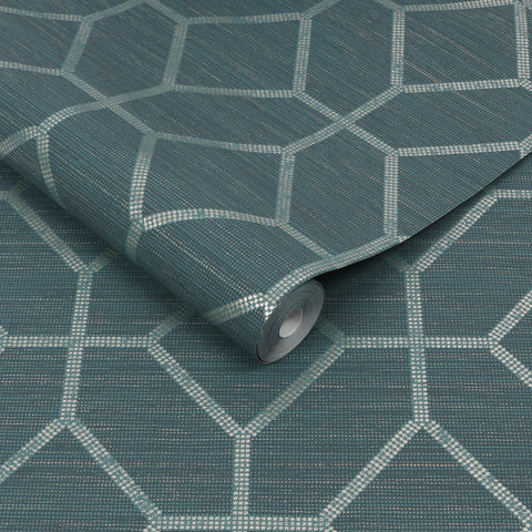 Asscher Geo Teal | Graham & Brown Wallpaper | 112657
