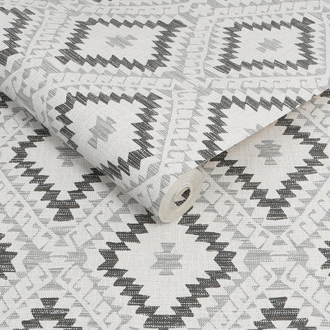 Aztec Geo Monochrome | Graham & Brown Wallpaper | 113249