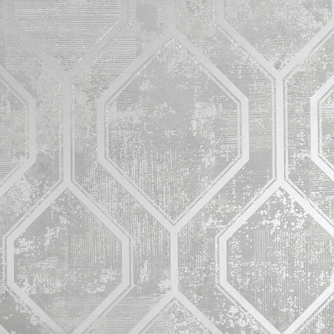 Armature Geo Grey/Silver | Graham & Brown Wallpaper | 113259