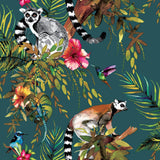 Lemur Teal Multi Wallpaper | Holden 12402 | Tropical Wallpaper