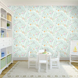 Kids Wallpaper - Woodland Adventure Soft Teal  - 12490