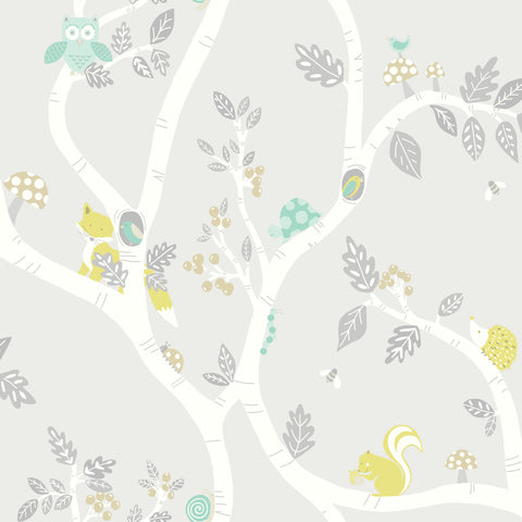 Kids Wallpaper - Woodland Adventure Grey - 12491