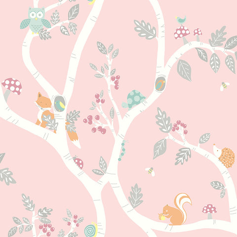 Kids Wallpaper - Woodland Adventure Dusky Pink - 12492