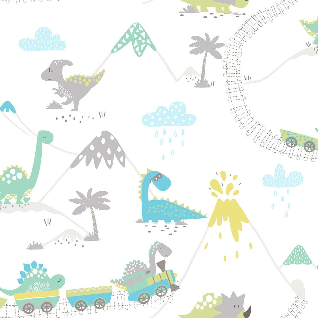 Holden Kids Wallpaper Dino Town Grey And Soft Teal
