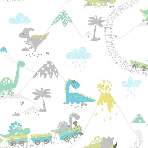 Holden Kids Wallpaper - Dino Town Grey and Soft Teal - 12531