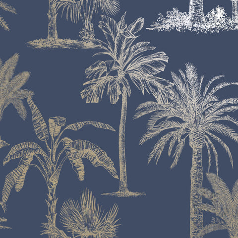 Holden Statement Wallpaper | Tropical Tree Navy | 12821