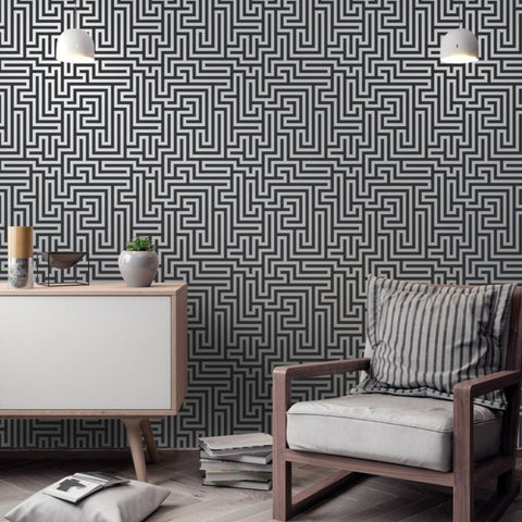 Glistening Maze Black | Holden Decor Wallpaper | 12912