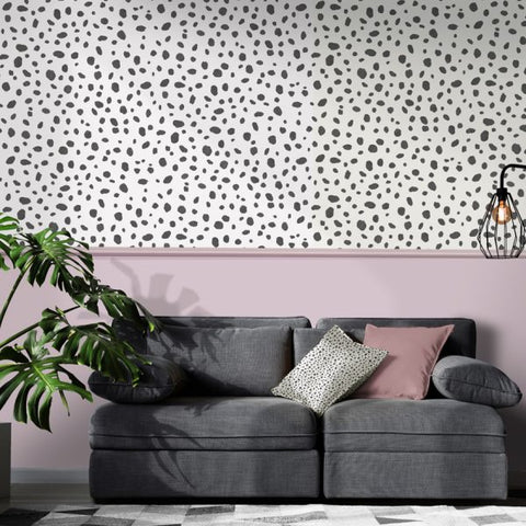 Dalmatian Spot Black/White Wallpaper | Holden Decor | 12940