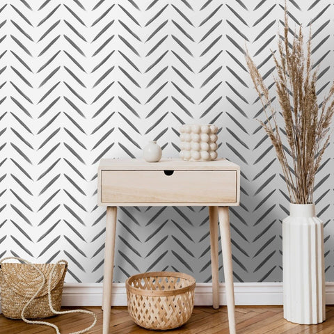Chevron Brush Marks Black/White | Holden Statement Wallpaper | 13040