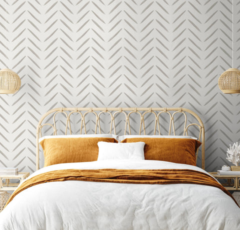 Chevron Brush Marks Taupe | Holden Statement Wallpaper | 13041