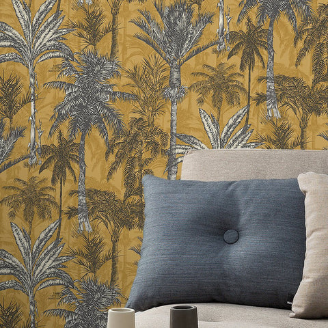 Hawaiian Palm Ochre | GranDeco Life Wallpaper | 161205