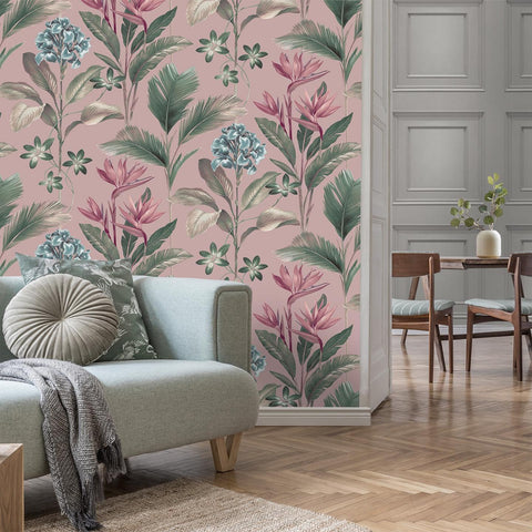 Oliana Floral Pink | Tropical Wallpaper Belgravia | 8485
