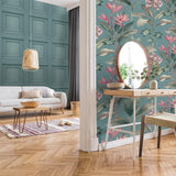 Oliana Floral Soft Teal | Tropical Wallpaper Belgravia | 8486