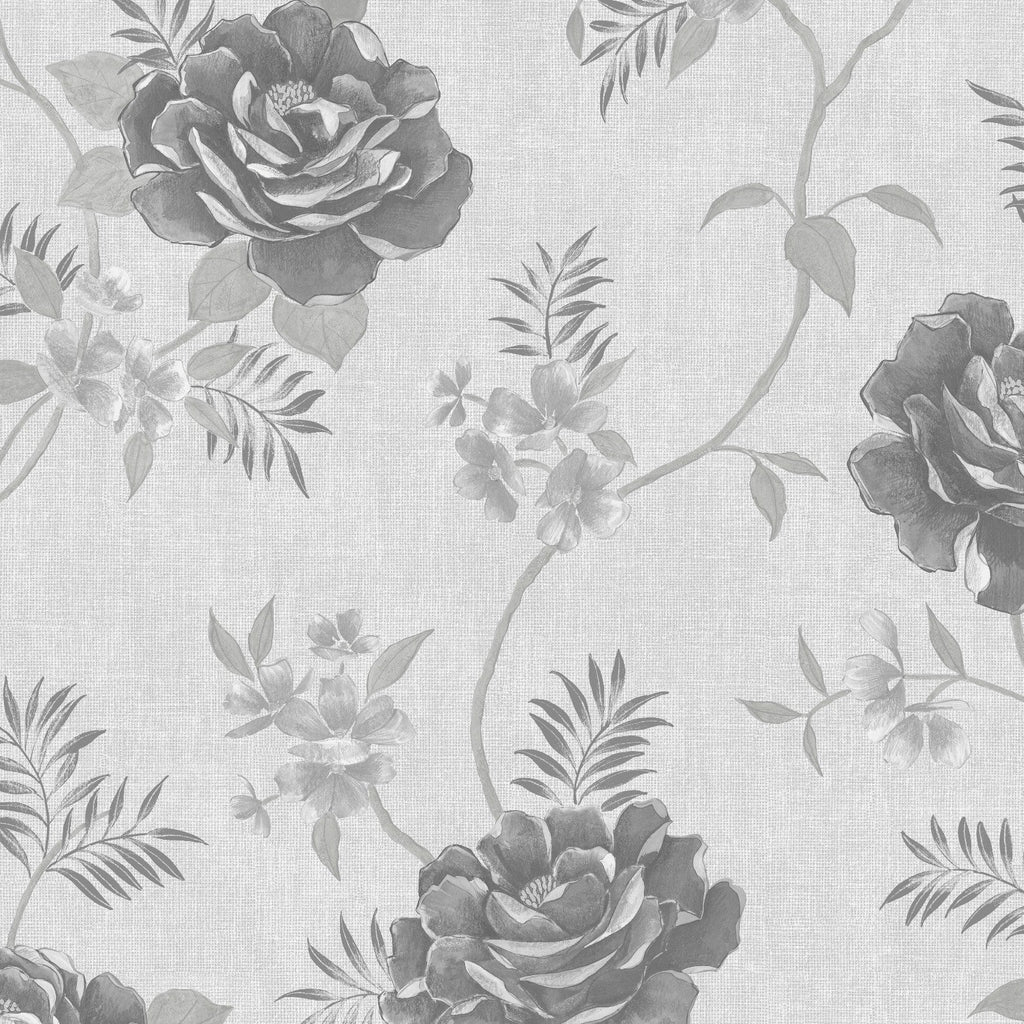 Rosalind Floral Silver Grey | Muriva Wallpaper 173501