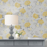 Rosalind Floral Ochre Yellow | Muriva Wallpaper 173502