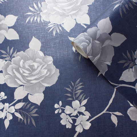 Rosalind Floral Navy Blue | Muriva Wallpaper 173503