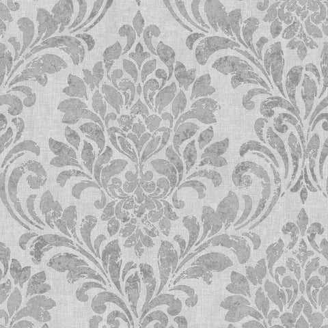 Eleanor Damask Silver Grey | Muriva Wallpaper 173511