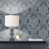 Eleanor Damask Navy Blue | Muriva Wallpaper 173513