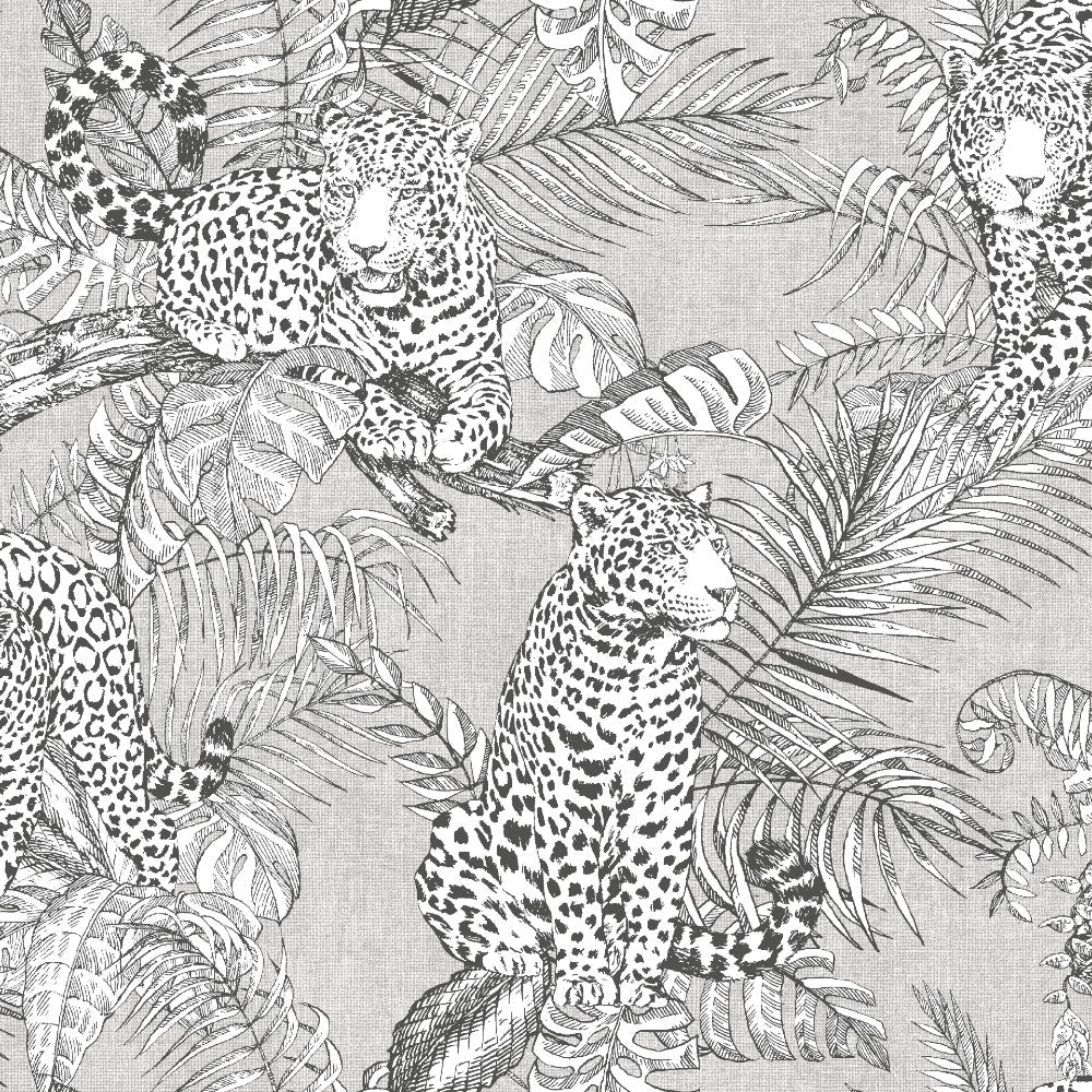 Mamboa Tropical Silver Grey | Muriva Wallpaper 173521
