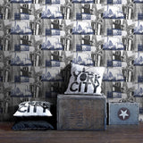 Graham & Brown Fresco Wallpaper | New York Blue/Black | 104631