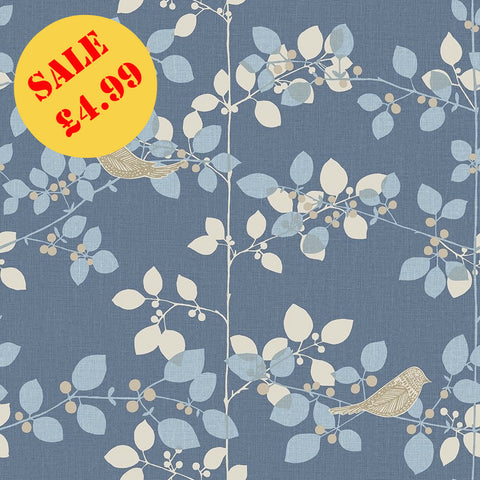 Tree Blossom Navy Wallpaper | SALE Rasch Wallpaper | WonderWall