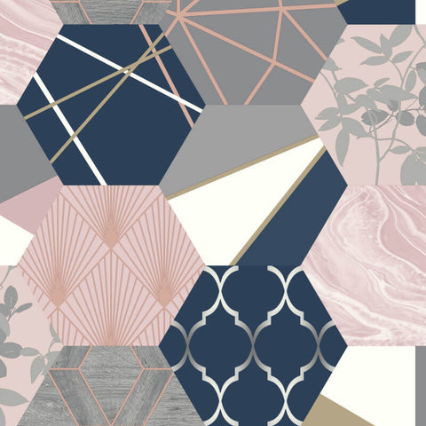 Geo Hexagon Navy/Pink | Rasch Wallpaper 215908