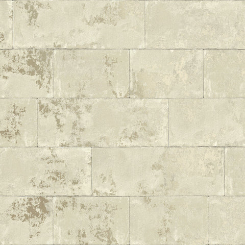Concrete Brick Neutral/Gold | Rasch 248692