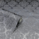 Velvet Trellis Gunmetal | Arthouse Wallpaper | 294603