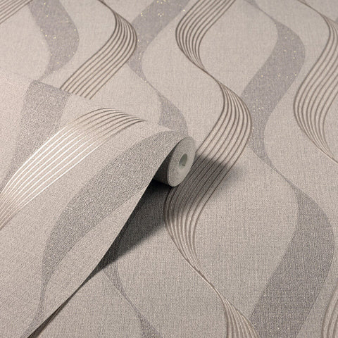 Luxe Ribbon Mocha | Arthouse Wallpaper 295501