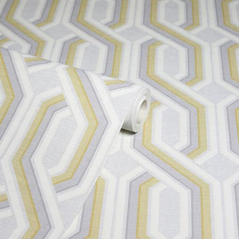Intertwine Geo Yellow/Grey | Arthouse Wallpaper 297103